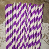 Purple Diagonal Striped Paper Straws