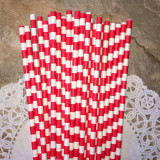 Red Horizontal Striped Paper Straws