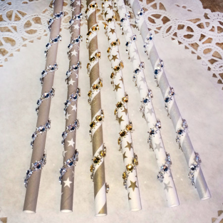 Silver and Gold Bling Paper Straws