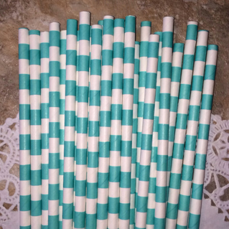 Turquoise Horizontal Striped Paper Straws