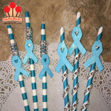 Awareness Ribbon Embellished Bling Straws