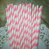 Bright and Light Pink Striped Paper Straws