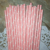 Light Pink Star Paper Straws