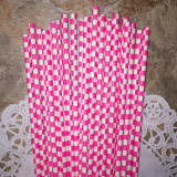 Pink Checkered Paper Straws