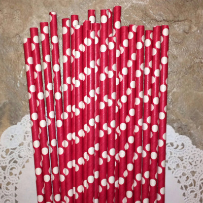 Red Paper Straws with Large White Polka Dots