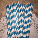 Teal Diagonal Striped Paper Straws