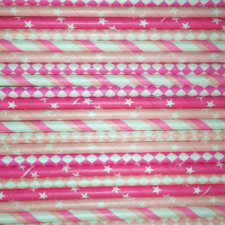 Think Pink Paper Straws Mix