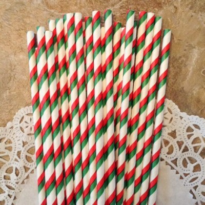 Red and Green Striped Paper Straws