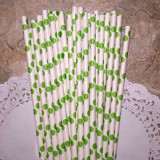 Lime Green Large Polka Dot Paper Straws