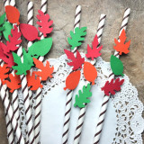 Fall Leaves Embellished Paper Straws