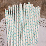 Light Blue Small Polka Dot Paper Straws