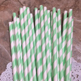 Sea Foam Diagonal Striped Paper Straws