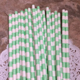 Sea Foam Horizontal Striped Paper Straws