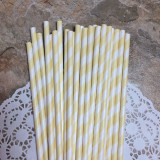Beige Diagonal Striped Paper Straws