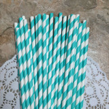 Turquoise Diagonal Striped Paper Straws