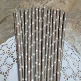Gray Star Paper Straws