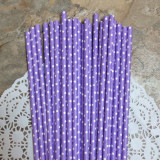 Lavender Paper Straws with Small White Polka Dots