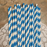 Ocean Blue Diagonal Striped Paper Straws