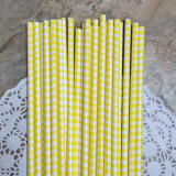 Yellow Diamond Paper Straws