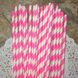 Pink Diagonal Striped Paper Straws