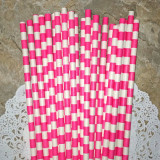 Pink Horizontal Striped Paper Straws
